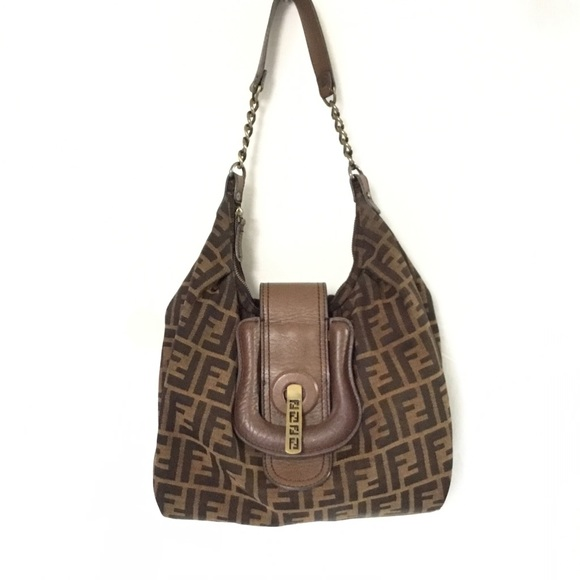008b9583f937 Fendi Handbags - Fendi Print Zucca Canvas Hobo Bag